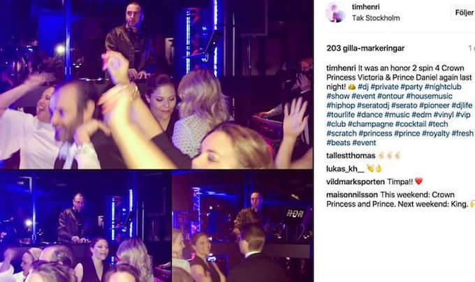På bilderna i DJ:n Tim Henris Instagraminlägg syns kronprinsessan Victoria och prins Daniel dansa.