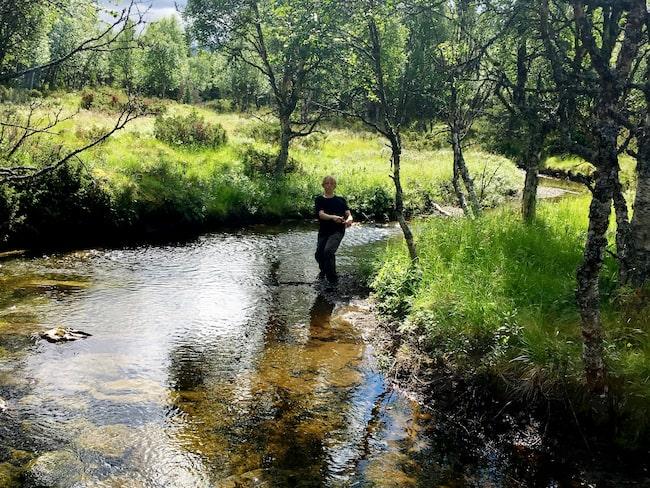Trots att det är i sommarvarma augusti är vattnet i ån Grönan iskallt.
