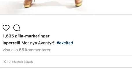 """""""Mot nya äventyr"""" har Perrelli kommenterat sin bild med, vilket har fått fansen att spekulera vilt i vad artistern ska göra härnäst. Foto: / Skärmpdump Instagram"""