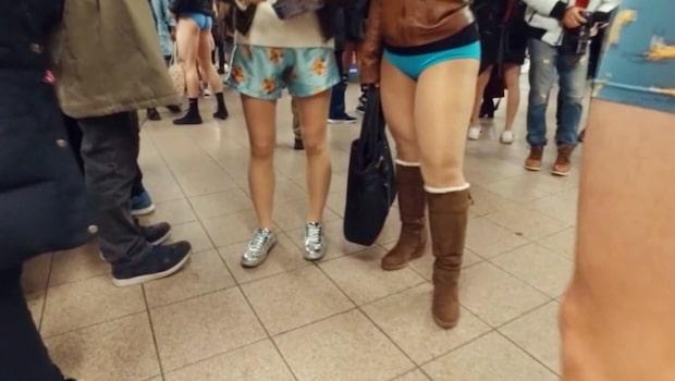 New Yorkborna trotsade kylan - utan byxor i tunnelbanan