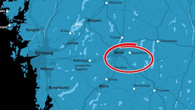 Olyckan skedde på riksväg 27 vid Aplared utanför Borås. Foto: MONTAGE