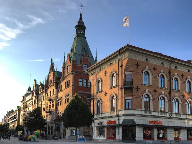 Stenstaden med Apotekare Grans hus med sitt höga torn och Rahmska huset där konstnärinnan Sigrid Hjertén delvis växte upp.