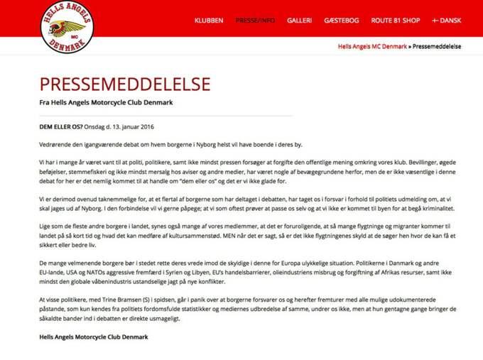 """""""Det finns ingen anledning till att vända vreden mot flyktingar som söker skydd i Danmark"""", skriver klubben i ett pressmeddelande. Foto: Skärmdump/hells-angels.dk"""