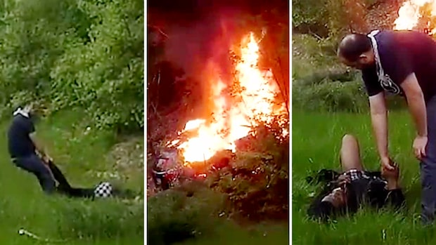 Mystisk hjälte räddar bilföraren från bilbranden