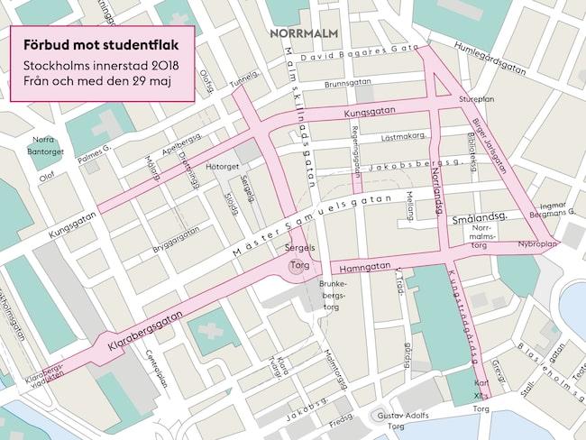 Här är gatorna där flaken förbjuds.