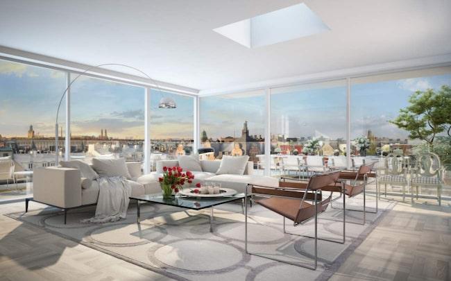 Så här kommer boendet se ut. Det är ett penthouse som snart börjar byggas på Östermalm i Stockholm. Priset är 83 380 000 kronor.