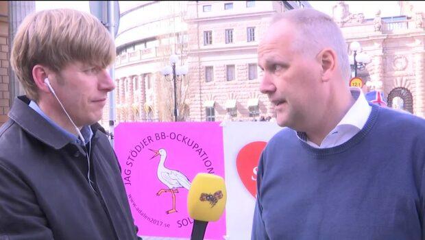 Jonas Sjöstedt supportar Sollefteå-demonstranterna