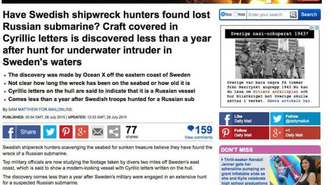 Daily Mail online skriver att nordiska medier direkt började spekulera i om ubåten hade att göra med ubåtsjakten i oktober i fjol.