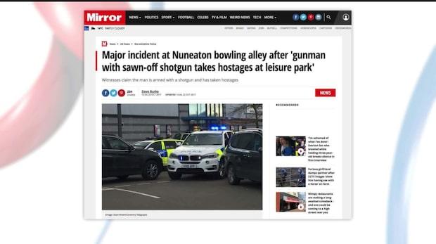 Uppgift: Beväpnad man på bowlinghall i Nuneaton, Storbritannien