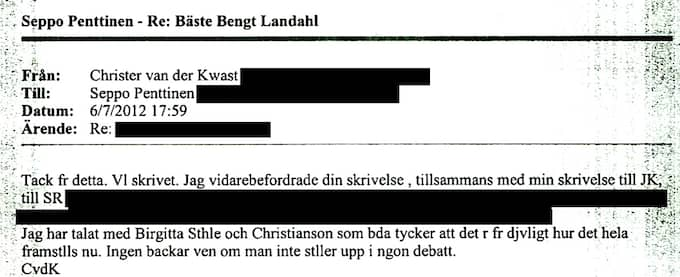 6 JULI 17.59 Christer van der Kwast till Seppo Penttinen: Christer van der Kwast meddelar att Birgitta Ståhle och Sven Å Christianson, är redo att ge sig in i debatten till stöd för Lambertz. '' Jag vidarebefordrade din skrivelse, tillsammans med min skrivelse till JK, till Sveriges Radio (...) Jag har talat med Birgitta Ståhle och Christianson som båda tycker att det är för djävligt hur det hela framställs nu. Ingen backar även om man inte ställer upp i någon debatt.