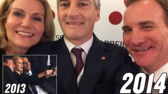 SÄG OMELETT! Helle Thorning-Schmidt, Jonas Gahr Støre och Stefan Löfven – och bilden Thorning-Schmidt tog vid minnesstunden för Nelson Mandela, med Barack Obama och David Cameron.