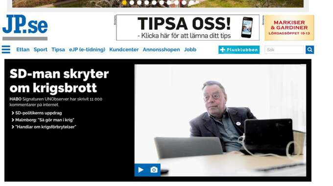 Jönköpings Posten skrev om SD-politikern Lennart Karlsson, som sitter i kommunfullmäktige i Habo, som bekräftar att han under pseudonym skrivit på hatsajter. Foto: Skärmdump