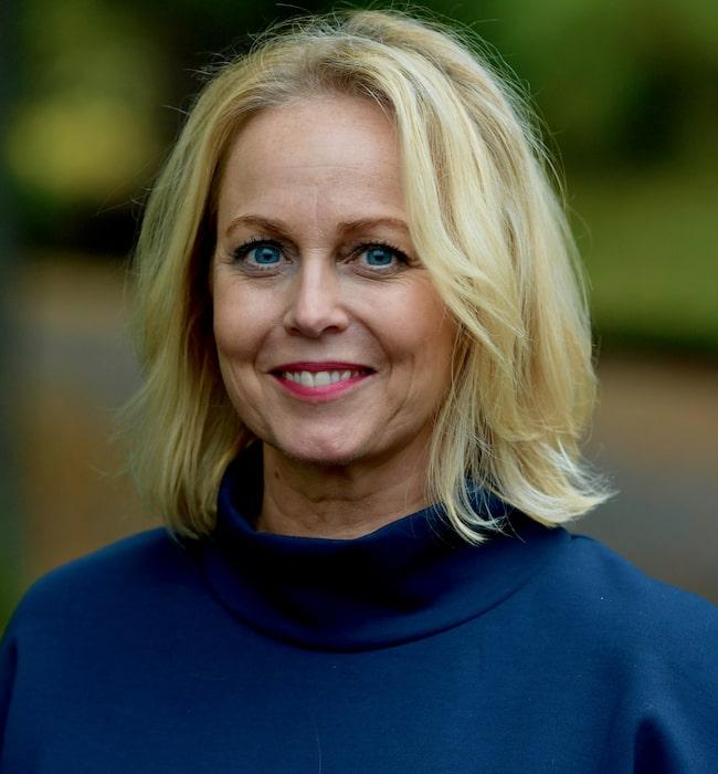 Annika Andersson trivs i villan i Falkenberg.