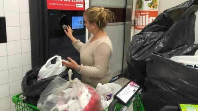 """Mia startade Facebooksidan """"Hjelp Spot"""" där hon bad folk att hjälpa henne att samla ihop pant. """"Folk har varit så obeskrivligt snälla mot Spot och mig"""", säger hon. Foto: Privat"""