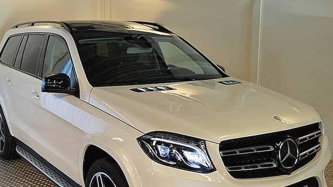 Natten mellan den 23 november och 24 november 2017, stals i Domsten en vit Mercedes Benz GLS 350D, 4Matic, AMG, årsmodell 2016. Foto: Polisen