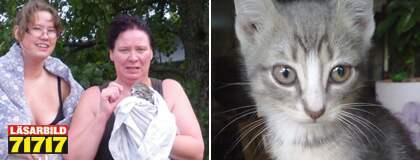 Emma Karlsson och hennes moster Ann-Margret Johansson med den räddade kattungen som fått namnet Hope. Foto: Privat