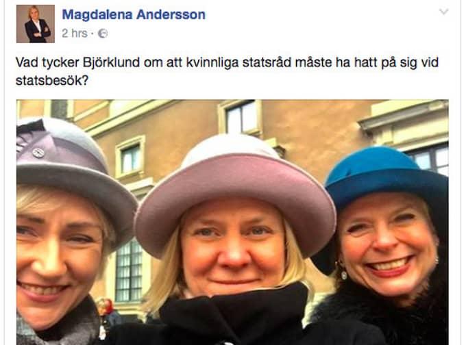 Magdalena Anderssons Facebook-status.
