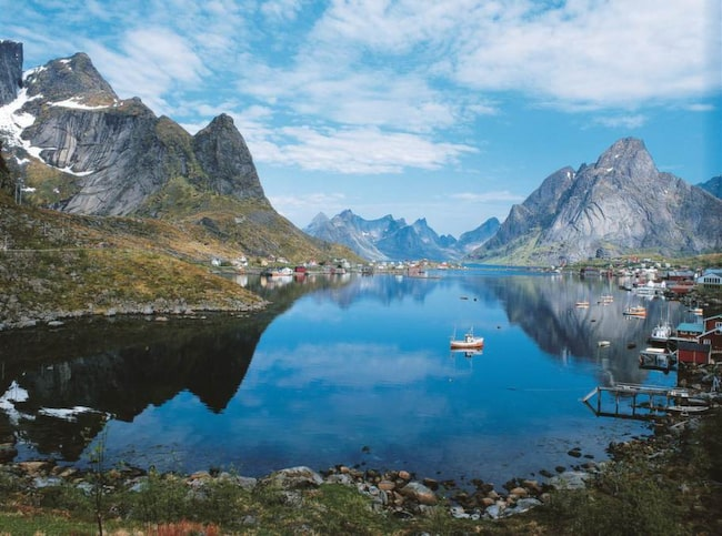 Eftersom Golfströmmen - och senare norska atlantströmmen - transporterar varmt vatten  över Atlanten blir klimatet på  Lofoten betydligt varmare  än andra platser på  samma breddgrad.