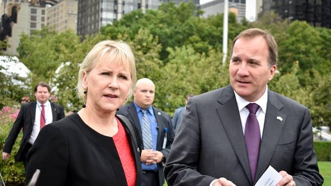 Margot Wallström och Stefan Löfven. Foto: TINA MAGNERGÅRD-BJERS/TT