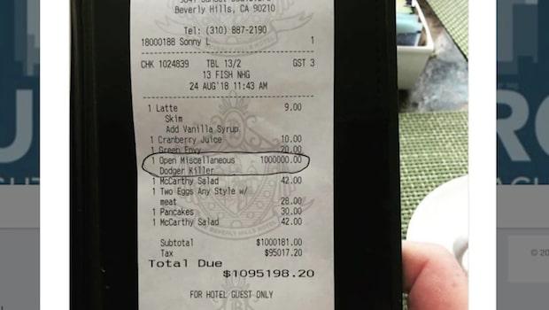 Stjärnan fick en miljon dollar pålagt på cafékvittot