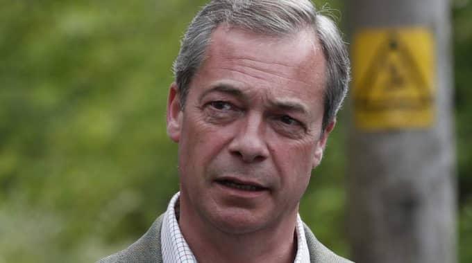"""Ukip:s partiledare Nigel Farage säger att ett samarbete med SD verkar """"rätt osannolikt"""". Foto: Lefteris Pitarakis"""