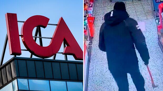 Här rusar rånarna runt i Ica-butiken beväpnade med kofötter