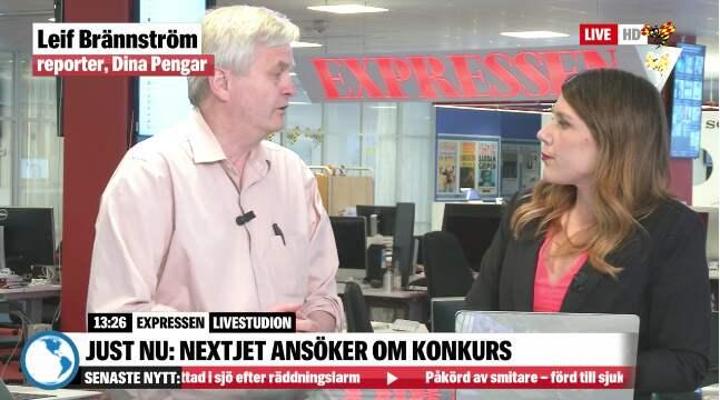 Dina Pengars Leif Brännström diskuterar Nextjets konkurs i Expressens sändning.