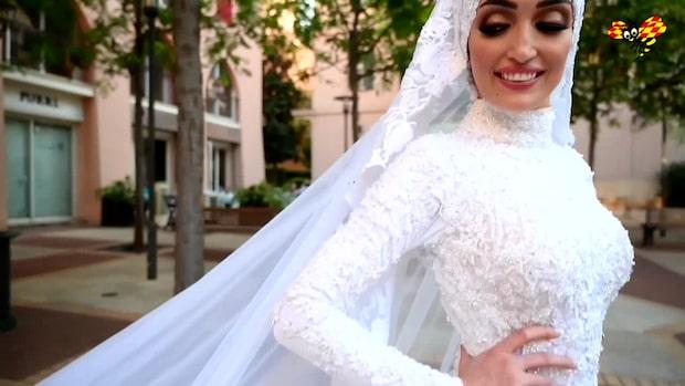 Här fångas explosionen – mitt under bröllopsfotot