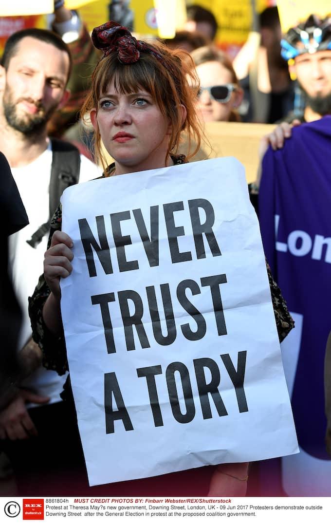 Protester efter valutgången i Storbritannien. Foto: FINBARR WEBSTER/REX/SHUTTERSTOCK / FINBARR WEBSTER/REX/SHUTTERSTOCK REX FEATURES