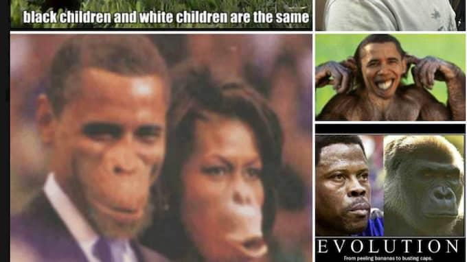 Ett axplock av grovt rasistiska bilder som liknar svarta människor vid apor, samlade på Facebooksidan Vardagsrasismen.