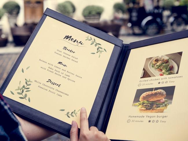 20 procent av svenskarna vill se bilder på maten innan de bestämmer sig för vilken restaurang de ska äta på.