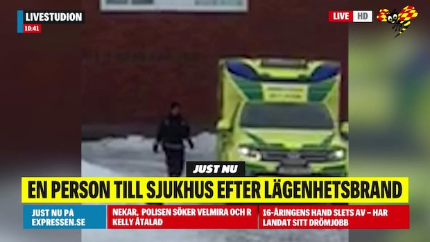 Två till sjukhus efter brand i flerfamiljshus i Boden