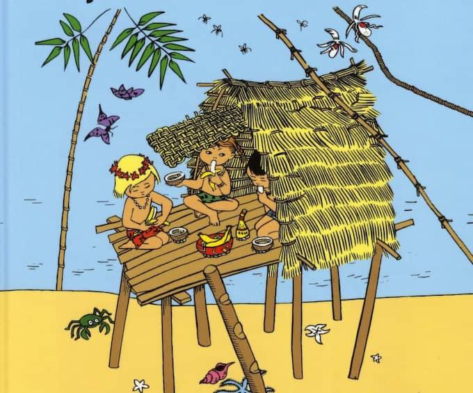 LÅNGT HEMIFRÅN. Pippi, Tommy och Annika har fruktstund på Kurrekurreduttön. Ill: Ingrid Vang Nyman