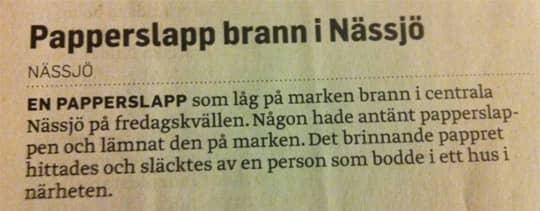 Bildresultat för Notisen om den brinnande papperslappen, ur Smålands-tidningen.