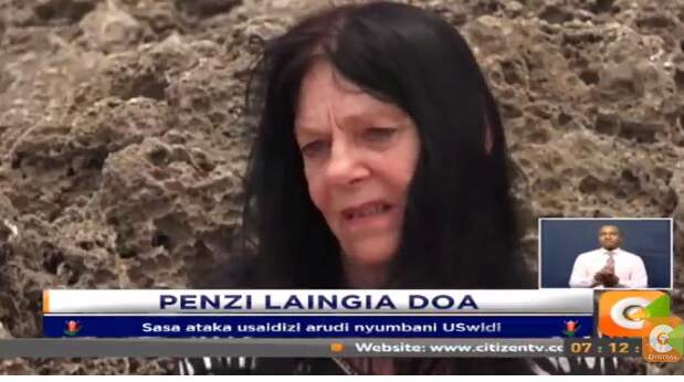 Anne, 65, är fånge i paradiset vid den kenyanska kusten. Inga pengar eller pass och allt sämre hälsa. Foto: Citizen TV Kenya