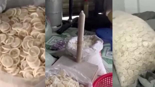 Illegala kondom-fabriken avslöjad – se bilderna inifrån
