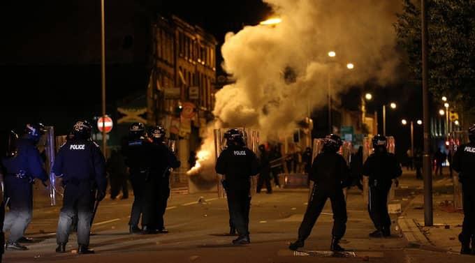 Upplopp i de centrala delarna av Liverpool. Foto: Splash News