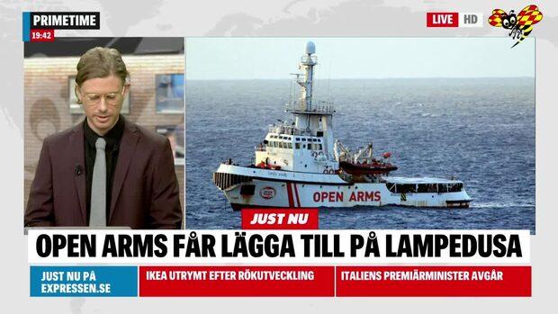 Migranter får gå iland på italienska ön Lampedusa