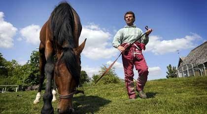 ELITLOPPSVINNARE PÅ GRÖNBETE? Going Kronos är i alla fall Sveriges hetaste häst inför Elitloppet - och Lutfi Kolgjini Sveriges kaxigaste kusk. Foto: Christer Wahlgren