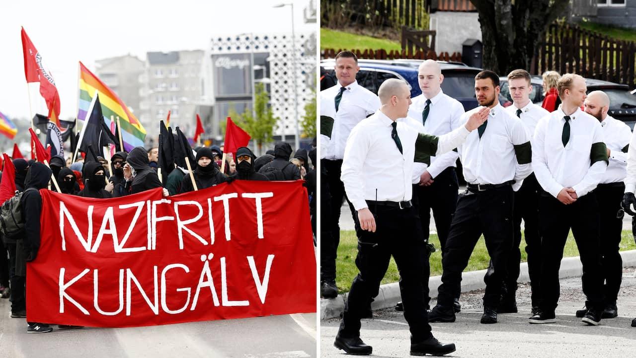 Kungälv: Nazistiska NMR marscherar i Kungälv på 1 maj