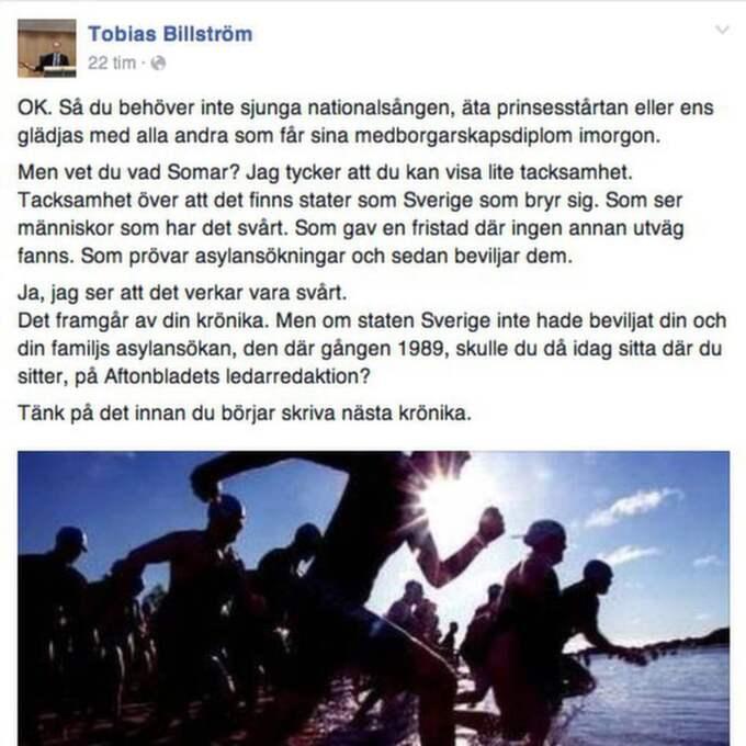 Såhär skrev Tobias Billström på facebook.