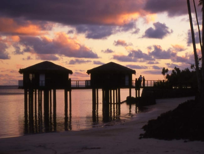 <span>Overwater bungalows på Coconuts Beach Club, Upolu.</span>