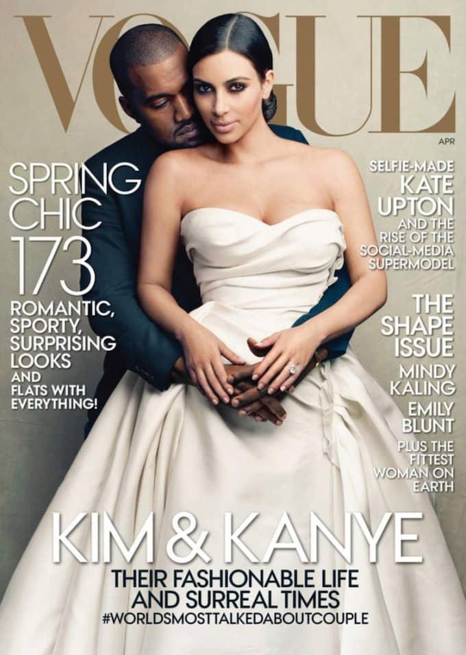 På omslaget till Vogue bar Kim en klänning från Lanvin, nu är frågan vem som designar den riktiga bröllopsklänningen?