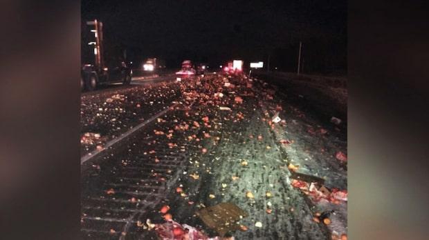 Tusentals apelsiner blockerade motorvägen