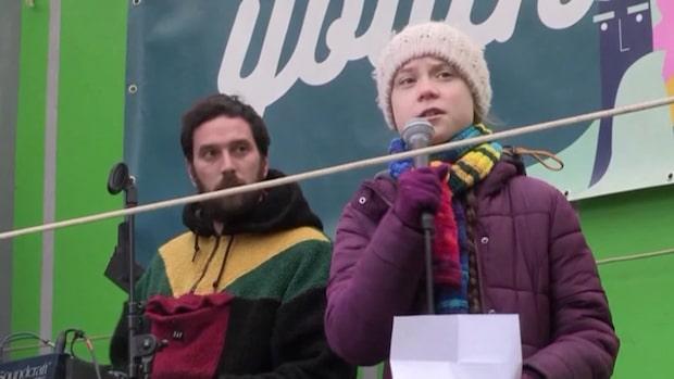 Greta Thunberg protesterade i Bryssel