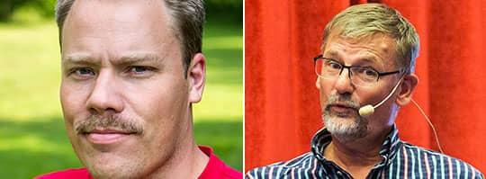 """Mats Pilhem (th) fick gå – nu tar Daniel Bernmar (tv), akademikern som kallar sig själv för """"välfärdsnörd"""", över kommunalrådsposten för Vänsterpartiet i Göteborg."""