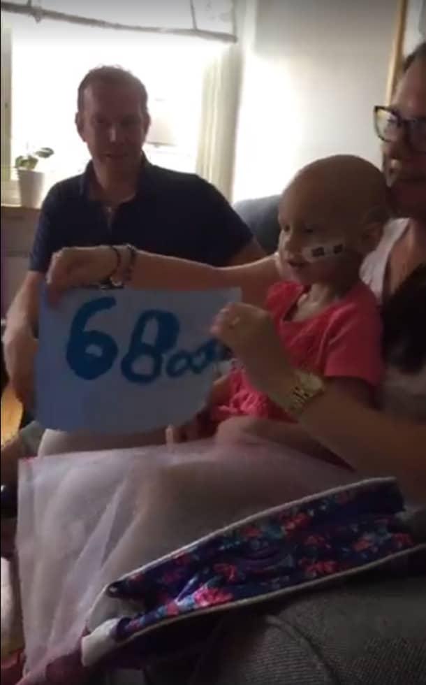På söndagen överraskades Emma med insamlingen på 68 000 kronor. Här med mamma Annika Müller, 35, och pappa Peter Nordblad, 41. Foto: Facebookgruppen Ellas Hjältar
