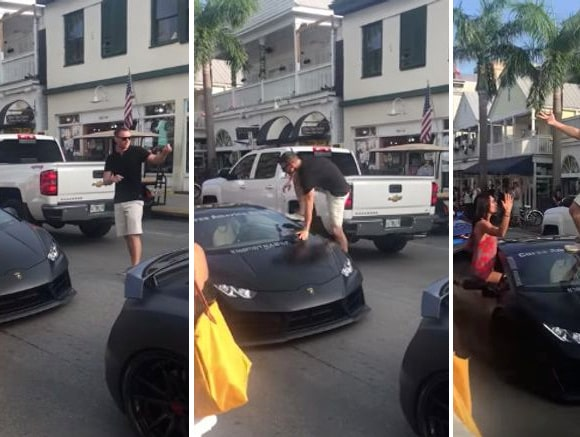 En bildserie som visar hur du inte ska behandla en Lamborghini Huracan.