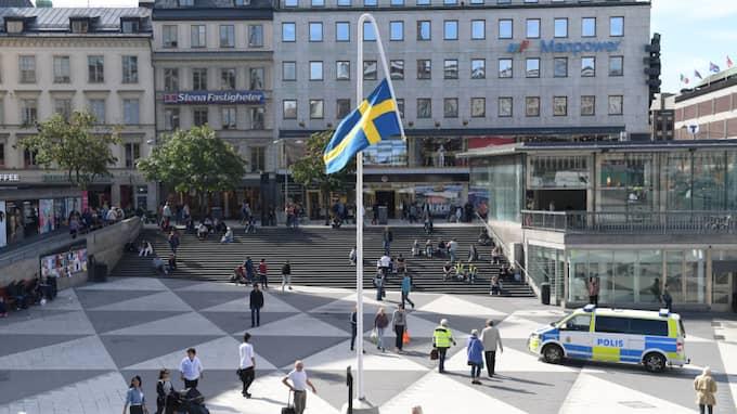 Mattias Norströms omtalade flagga. Foto: HENRIK MONTGOMERY/TT / TT NYHETSBYRÅN