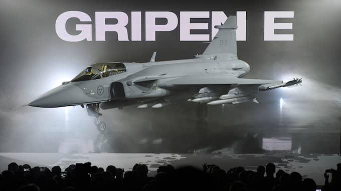 Reklam för nya Gripen - som försvarskoncernen Saab försöker sälja till Indien. Foto: ANDERS WIKLUND/TT NYHETSBYRÅN